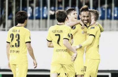 Aubameyang firrmó un hat-trick en la victoria borusser ante el Qabala. || Foto: BVB.