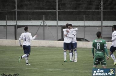 Buenacasa celebra un gol esta temporada (Foto: Claudia Moreno | Aúpa Zaragoza).
