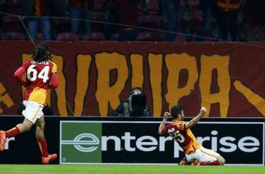 L'esultanza al primo gol del Galatasaray. Google.