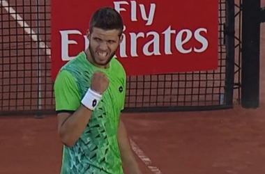 Jiri Vesely pumps his fist after defeating Guillermo Garcia-Lopez (Photo:Tennis TV)