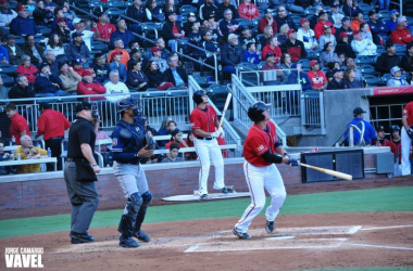 Hunter Renfroe stares at his first home run at the game, giving the Chihuahuas an early 2-0 lead. By Jorge Camargo