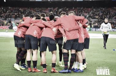 El equipo durante un calentamiento en un partido de UEFA Champions League | Foto de Noelia Déniz, VAVEL