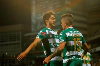 Abella y Lozano fueron relevantes en el encuentro en el que el equipo de la Liga Mx doblegó al club de la Major League Soccer. (Foto: Santos Laguna)