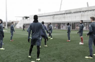 Jugadores en la sesión de hoy. Fotografía: Rayo Majadahonda
