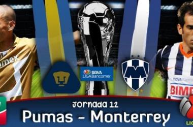 Resultado Pumas - Rayados de Monterrey en Liga MX 2014 (1-2)
