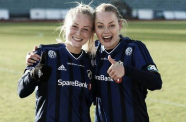 Pernille Velta (left) and Victoria Ludvigsen (right) have contributed seven of Stabæk's 19 goals this season. Will they still be smiling, and top of the standings, come Sunday evening? (Photo: Stabæk Fotball)