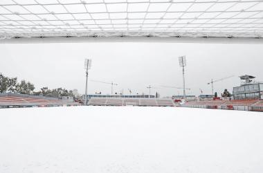 El campo del Atlético de Madrid azotado por el temporal. / Twitter: Atlético de Madrid oficial
