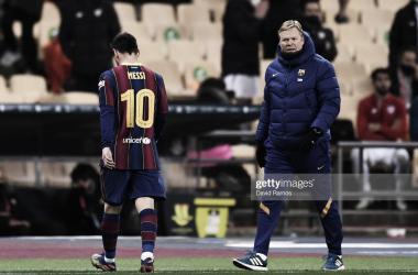 SIEMPRE HAY UNA PRIMERA VEZ. Messi y su primera roja con los colores del Barcelona. Foto: Getty images