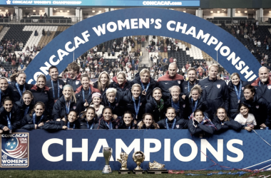 USWNT after winning the 2014 CONCACAF Championship (Photo Courtesy: US Soccer)
