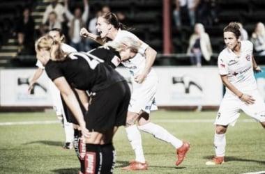 Lotta Schelin celebrates giving Rosengård and crucial late winner in midweek. (Photo: 24MalmöSport)