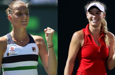 Karolina Pliskova (l.) and Caroline Wozniacki (r.) meet in the Miami Open semifinals/Photo: AFP