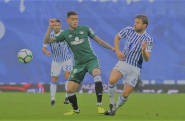 Illarramedi con la camiseta de la Real en el pasado encuentro contra el Betis | Imagen: LaLiga Santander