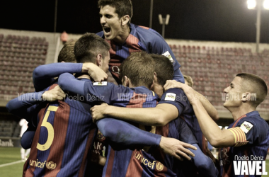 Celebración del gol durante el FC Barcelona B-CE L'Hospitalet | Foto: Noelia Déniz (VAVEL)