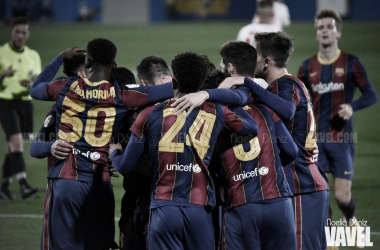 Los jugadores del Barça B celebrando un gol en la presente temporada | Foto de Noelia Déniz, VAVEL