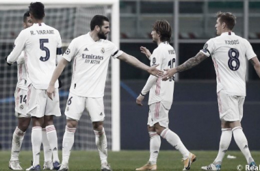 Los jufadores blancos celebrando un gool | Foto: Real Madrid CF