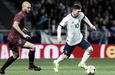 BIEN. Messi cumplió una buena tarea en el Wanda Metropolitano. Foto: Getty Images