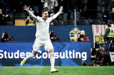 Rodrigo Moreno celebra su gol decisivo en el tiempo de añadido. Foto: AFP