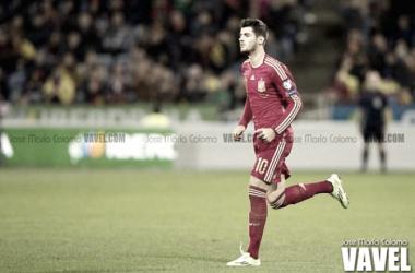 Morata durante un partido con la selección/ Foto: José María Colomo (VAVEL)