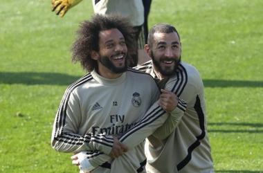 Benzema y Marcelo en un entrenamiento del Real Madrid