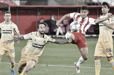 Imagen del partido entre Almería y Espanyol.