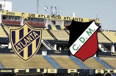 El estadio de León Kolbowski de fondo, el escudo de Atlanta en la izquierda y el de Deportivo Maipú a la derecha./ Foto: GETTY IMAGES