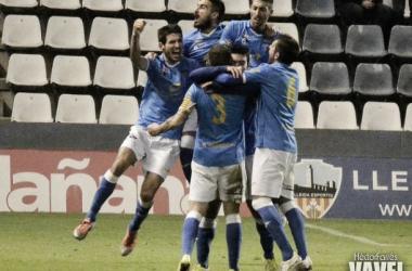 El Lleida celebra uno de los goles de la pasada jornada (Foto:  Héctor Farrés | VAVEL).