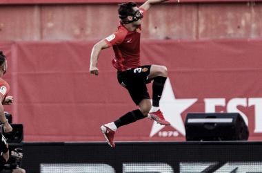 Braian Oliván celebrando su gol/ Fuente: LaLiga