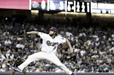 Los Angeles Dodgers starting pitcherClayton Kershaw throws against the Arizona Diamondbacks during the sixth inningof a baseball game in Los Angeles, Tuesday, July 4, 2017. |Source: Chris Carlson/AP|