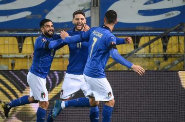 L'esultanza di Berardi dopo il momentaneo 1-0. | Foto: Twitter @Vivo_Azzurro.