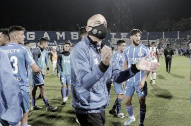 Sebastián Méndez se mostró muy conforme con el desempeño del equipo para el triunfo en casa. Foto: Prensa Godoy Cruz