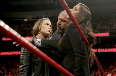 Rhonda Rousey intimidates Stephanie McMahon at the signing of her contract, could there be a match between the two at Wrestlemania.  Photo credit: WWE.com