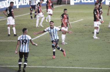 AGÓNICO. Juan Cáceres, el autor del gol de la victoria de Racing en el último minuto en el último partido ante Colón. Foto: Web