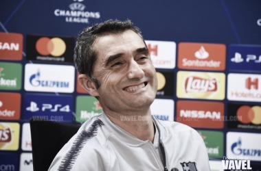 Ernesto Valverde durante una rueda de prensa previa a un partido de UEFA Champions League | Foto de Noelia Déniz, VAVEL