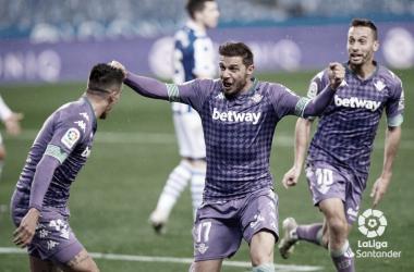 Joaquín celebra el empate contra la Real Sociedad en los últimos minutos. Imagen: LaLiga