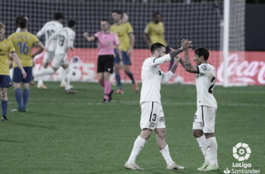 Celebrando la victoria frente al Cádiz. Fuente: LaLiga.