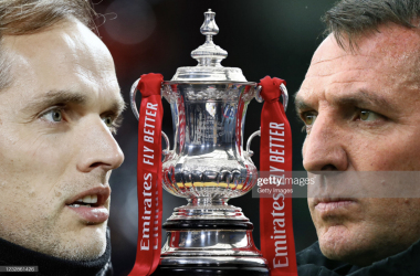 FILE PHOTO (EDITORS NOTE: COMPOSITE OF IMAGES - Image numbers 1071867516, 1136184511, 1308275530 - GRADIENT ADDED) In this composite image a comparison has been made between head coach Thomas Tuchel of Chelsea (L) and Brendan Rodgers, Manager of Leicester City. Chelsea and Leicester City meet in the 2021 FA Cup Final at Wembley Stadium on May 15,2021 in London. ***LEFT IMAGE*** BELGRADE, SERBIA - DECEMBER 11: Head coach Thomas Tuchel of Paris Saint-Germain looks on prior to the UEFA Champions League Group C match between Red Star Belgrade and Paris Saint-Germain at Rajko Mitic Stadium on December 11, 2018 in Belgrade, Serbia. (Photo by Srdjan Stevanovic/Getty Images) *** CENTER IMAGE*** LEICESTER, ENGLAND - MARCH 21: A detailed view of the Emirates FA Cup Trophy is seen prior to the Emirates FA Cup Quarter Final match between Leicester City and Manchester United at The King Power Stadium on March 21, 2021 in Leicester, England. Sporting stadiums around the UK remain under strict restrictions due to the Coronavirus Pandemic as Government social distancing laws prohibit fans inside venues resulting in games being played behind closed doors. (Photo by Alex Pantling/Getty Images) ***RIGHT IMAGE*** BURNLEY, ENGLAND - MARCH 16: Brendan Rodgers, Manager of Leicester City looks on prior to the Premier League match between Burnley FC and Leicester City at Turf Moor on March 16, 2019 in Burnley, United Kingdom. (Photo by Alex Livesey/Getty Images)