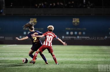 Amanda Sampedro y Lieke Martens en el último partido disputado | Foto de Tomás Rubia, VAVEL