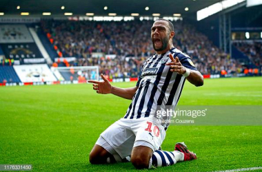 WEST BROMWICH, ENGLAND - SEPTEMBER 22: Matt Phillips of West Bromwich Albion celebrates scoring a goal during the Sky Bet Championship match between West Bromwich Albion and Huddersfield Town at The Hawthorns on September 22, 2019 in West Bromwich, England. (Photo by Malcolm Couzens/Getty Images)
