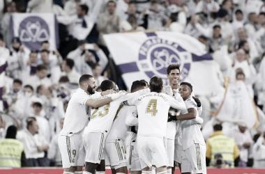 Jugadores del Real Madrid en el encuentro ante la Real Sociedad. Fuente: Real Madrid