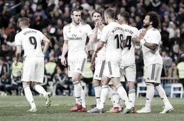 Los jugadores celebrando el gol de Ceballos | Foto: Realmadrid.com
