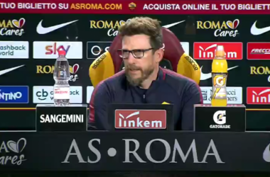 Di Francesco durante la conferenza di oggi. | AS Roma, Twitter.