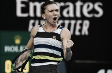 Halep, puño apretado en la Margaret Court Arena | Foto: Australian Open
