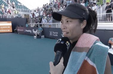 Hsieh hablando post partido | Foto: WTA