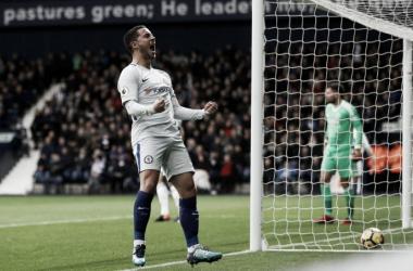 La gioia di Eden Hazard dopo il suo primo gol di oggi. | Premier League, Twitter.