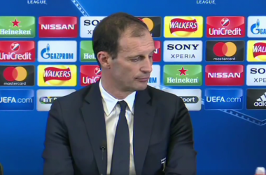 Massimiliano Allegri durante la conferenza di oggi. | Juventus, Facebook.