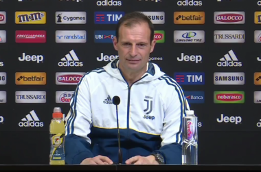 Max Allegri durante la conferenza stampa di oggi. | Juventus, Facebook.