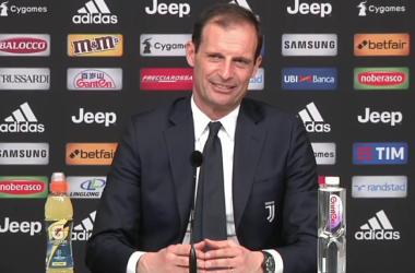 Max Allegri durante la conferenza di oggi.   Juventus, Facebook.