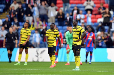 Watford players look on as they are taught a lesson in discipline by Crystal Palace