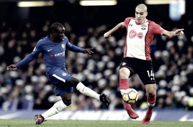 N'Golo Kanté in azione alla sua 50esima con i Blues. | Chelsea FC, Twitter.