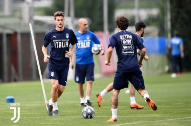 Daniele Rugani durante un recente allenamento con la Nazionale. | JuventusFC, Twitter.